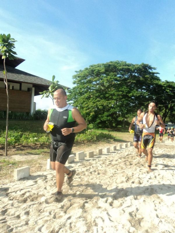 Run from swim to T1. For a biggie like me, its a great feeling your not last.. yet